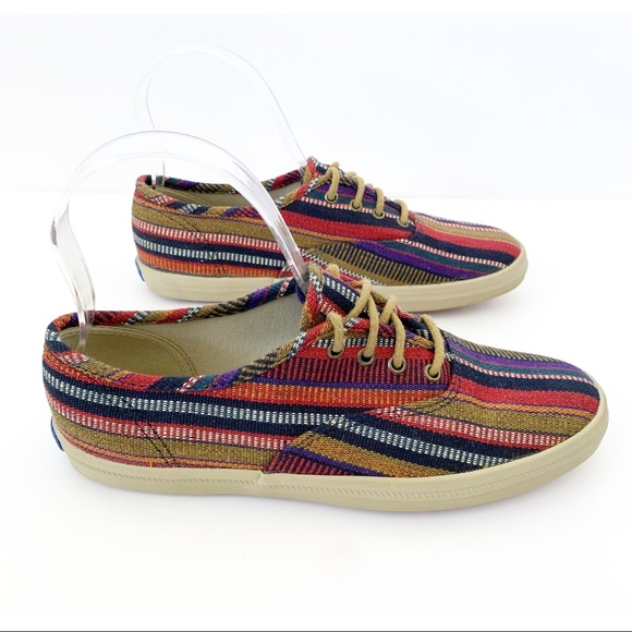 Keds Sneakers Boho Hippie Striped Canvas Fabric
